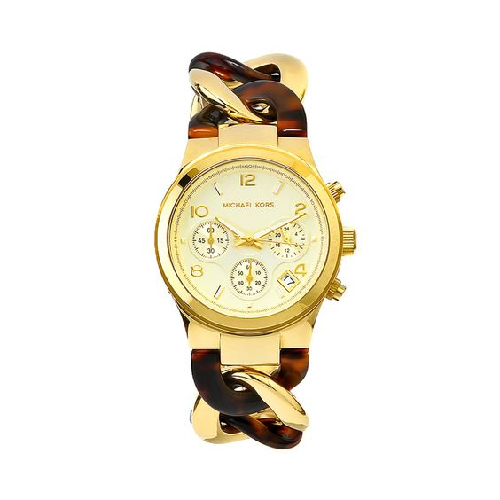Michael Kors Ladies' Chain Watch in Gold and Brown