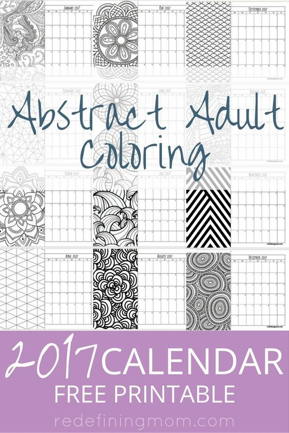 Year Calendar Jsf : Abstract adult coloring calendar free printable