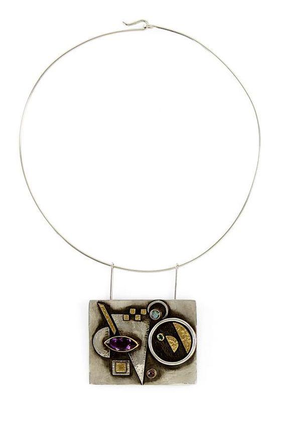 "Necklace   Linda Ladurner. ""Hommage à Kandinsky"". Silver, gold, amethyst, tourmaline"