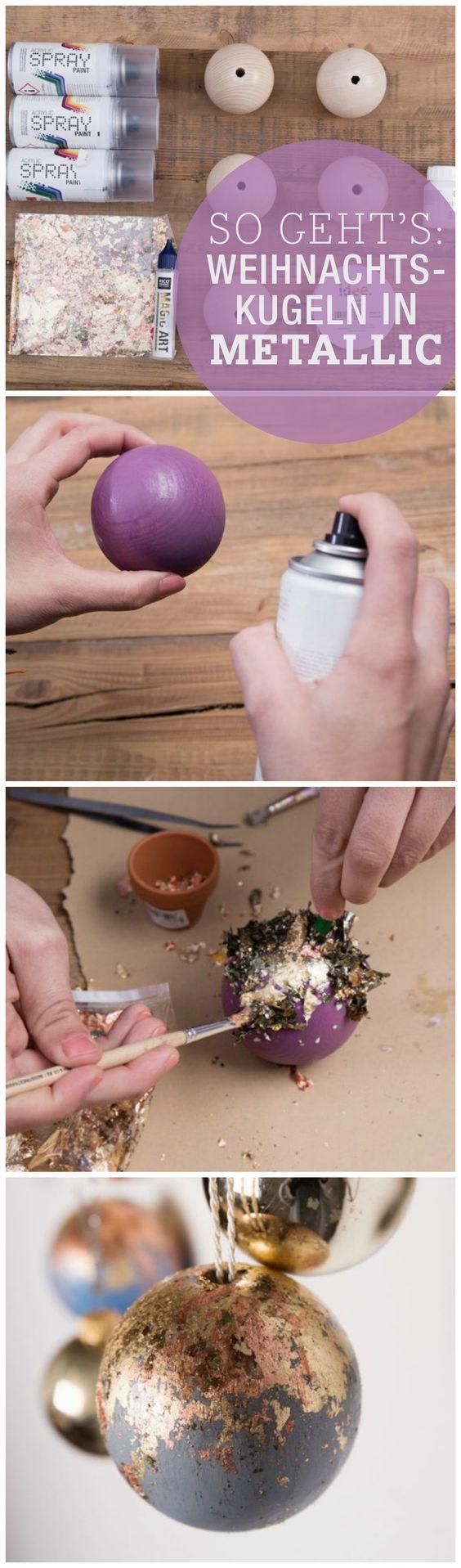 diy anleitung weihnachtskugeln aus holz mit blattmetallflocken herstellen via. Black Bedroom Furniture Sets. Home Design Ideas