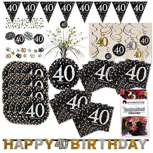 Amscan 40 Geburtstag Glitter Party Set Xl 50 Teilig 16 Gaste