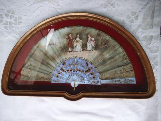 antiguo abanico enmarcado pintado a mano firmado nacar z | Muebles ...
