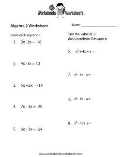 Algebra 2 review worksheets