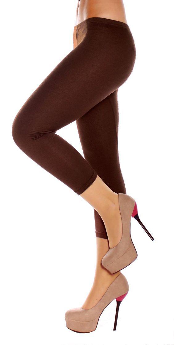 Damen Easy Young Fashion Baumwoll Legging 3-4 Bein Sommer Capri Latte: Amazon.de: Bekleidung