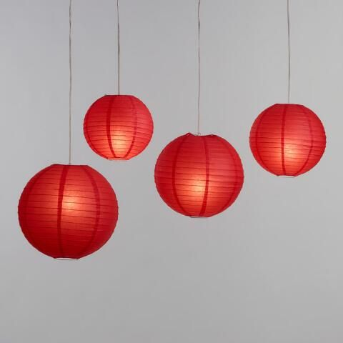 Red Round Collapsible Paper Lantern Paper Lanterns Lanterns Chinese Paper Lanterns