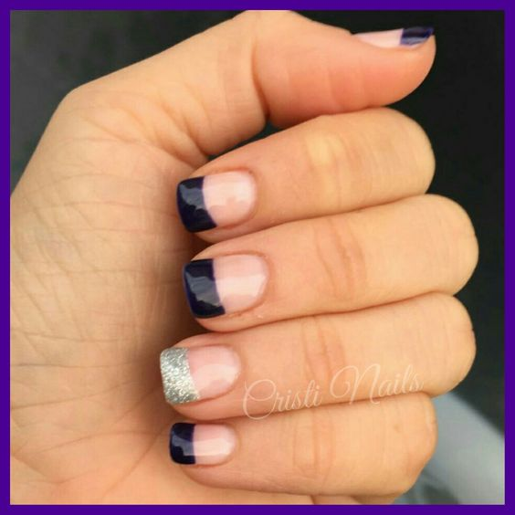 Nails Francesa morada y brillante