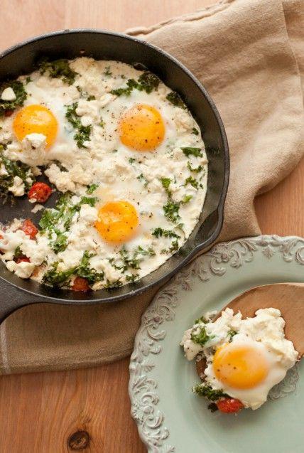 Tomato, Kale, and Feta Baked Eggs - Yum! Wholeliving.com