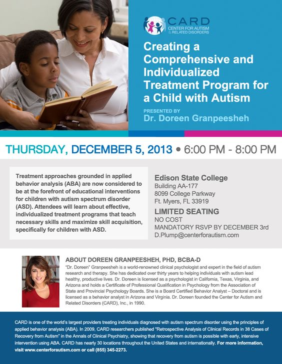 Excited for this! If you live in the Fort Myers Florida area, get ready for CARD founder Dr. Doreen Granpeesheh! She is coming and will be speaking in Florida on December 5th! RSVP here: d.plump@centerforautism.com