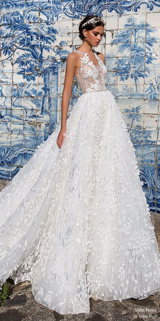 intricate lace and airy fabrics wedding dress