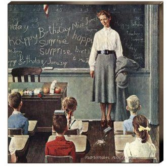 School Teacher (Happy Birthday Miss Jones, Teacher's Surprise) Canvas Giclee:
