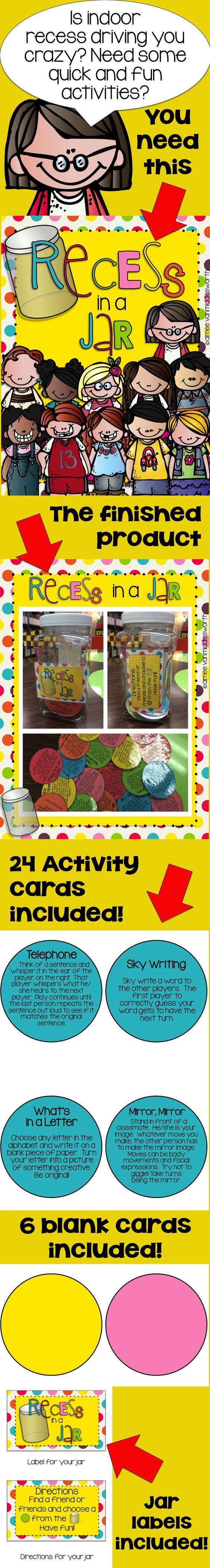 Classroom Jar Ideas : Recess in a jar activities for indoor pinterest