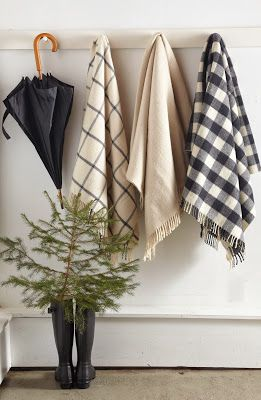 Pegs for hanging: Good Ideas, Tricia Foley, Black White, Simple Christmas, General Store, Ideas For Bathrooms, Plaid Blanket