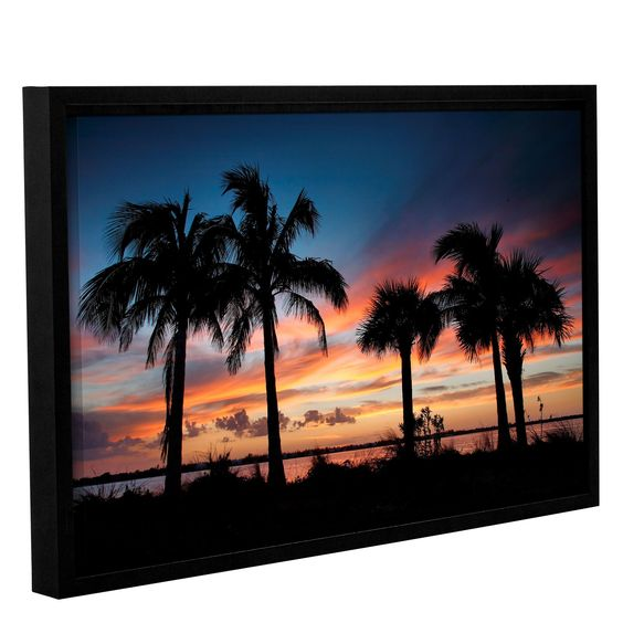 Tropical Sunset Ii by Steve Ainsworth Floater Framed Photographic Print on Gallery Wrapped Canvas