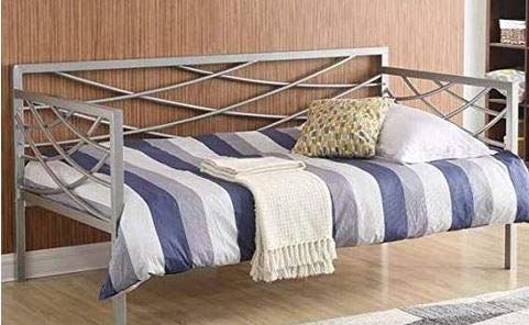 Silver Metal Open Geometric Design Daybed Frame Twin Comfortable