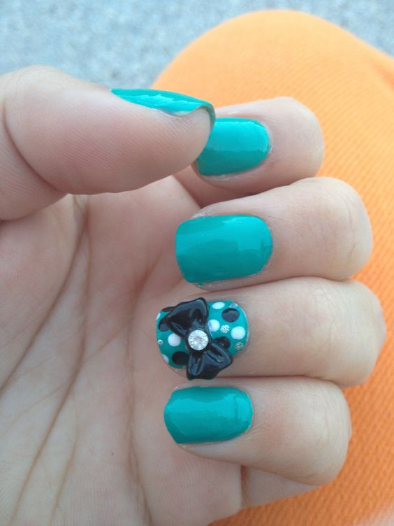 Turquoise with Polka Dots and a 3D bow