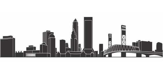 Black and White Skyline City of Jacksonville FL...20 inches wide x  24 inches long