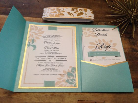 Diy Tiffany Blue Pocket Wedding Invitation With Gold Edge And Flower Bloo Tiffany Blue Wedding Invitation Blue Wedding Invitations Diy Tiffany Blue Invitations