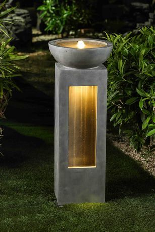 Hometrends Garden Fountain With Led Light Walmart Canada Concrete Fountains Outdoor Water Features Water Feature Lighting Outdoor water fountains with lights