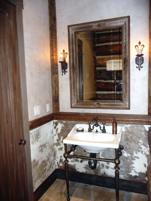 This stunning cowhide powder room by the urban artist is for Urban bathroom ideas