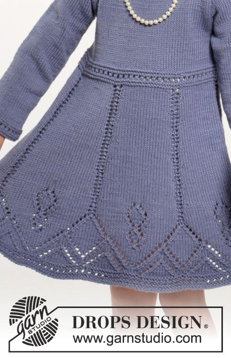 "Set consists of: Knitted DROPS dress and hair band with lace pattern in ""Cotton Merino"". Size 2-10 years ~ DROPS Design:"
