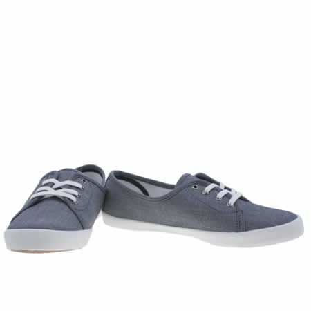 womens fred perry navy & white bell chambray trainers