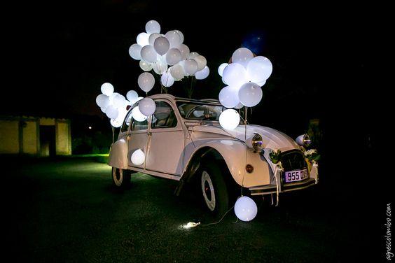 lcher de ballons lumineux led mariage galle thomas 2cv wedding - Lacher De Ballon Lumineux Mariage