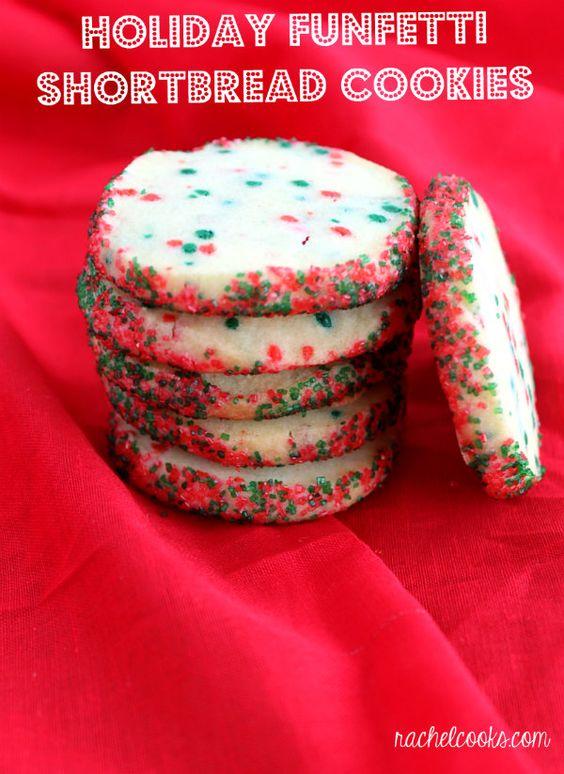 Holiday Funfetti Shortbread Cookies