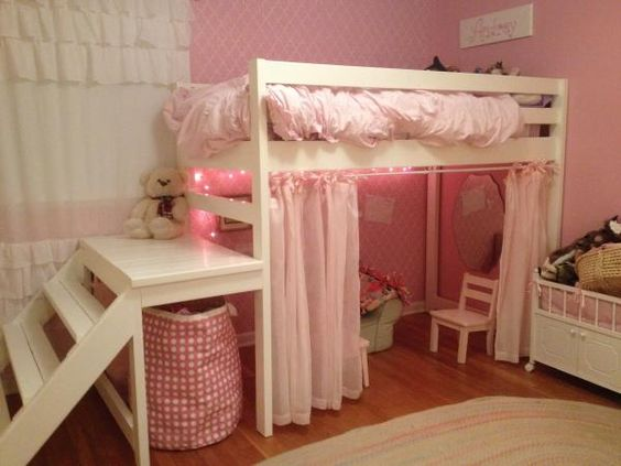 Little Girls Jr Loft Bed Do It Yourself Home Projects From Ana White Kids Bedroom Tutorials