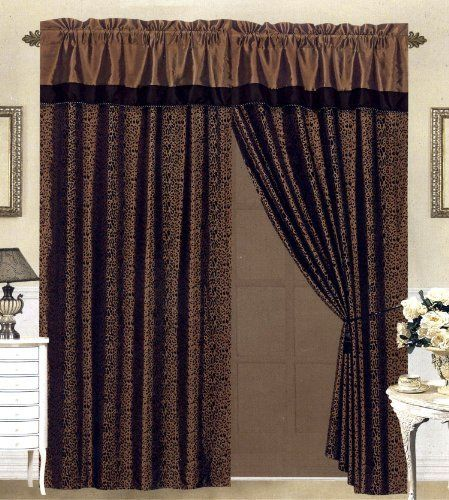 Curtains Ideas brown valance curtains : Black/Brown Flocking Leopard Satin Window Curtain Drape Set+Sheer ...