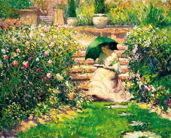 Woman Reading in a Garden Richard Edward Miller - circa 1912