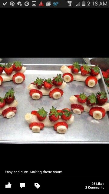 these are so cute the kids will enjoy helping you make them and they're easy banana and strawberries