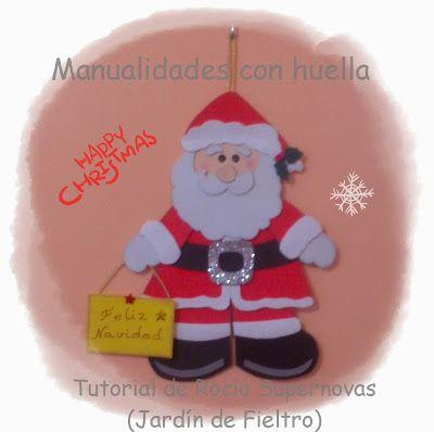 Manualidades con huella pap noel para esther mi goma - Papa noel manualidades ...