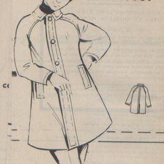 """Patron vintage neuf, manteau garçon, années 70,  """"modes & travaux""""."""