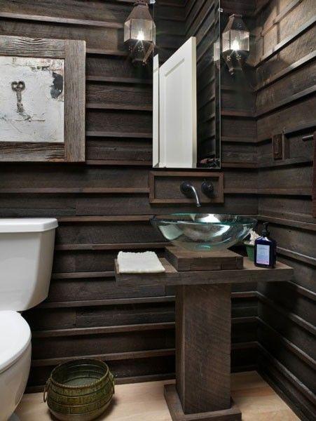 decorar lavabo con pie : decorar lavabo con pie: con paredes de maderas y #lavabo con pie en madera. #baños #