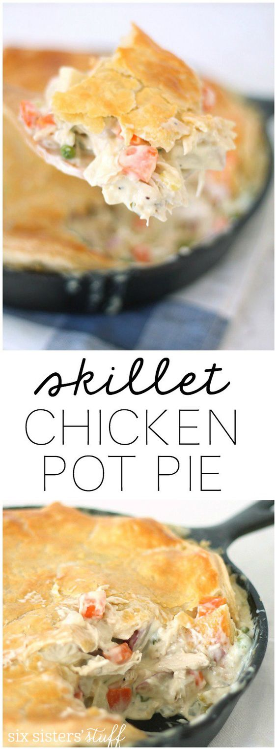 Easy Skillet Chicken Pot Pie Recipe from SixSistersStuff.com. This is ...