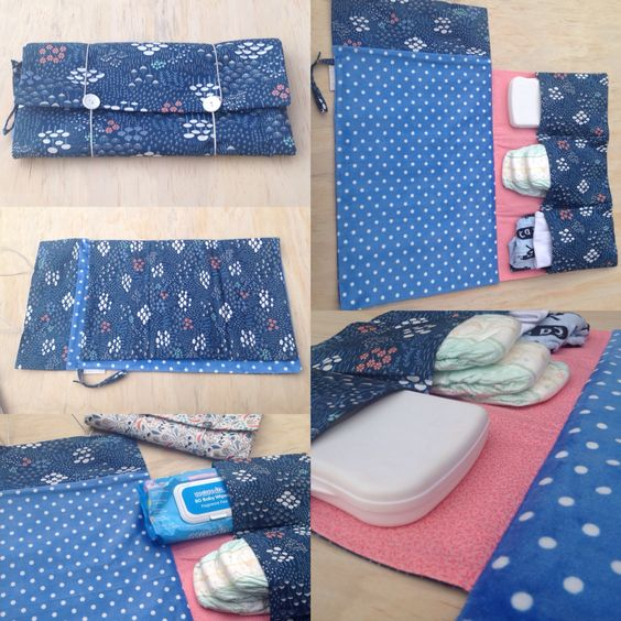Nappy Wallet- built in soft minky change mat with 3 large pockets and elastic closure for nappies, wipes and a change of clothes