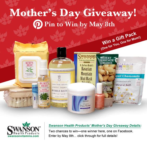 Win a pampering Mother's Day gift pack for your mom and one for you, too! Check out this mother's day Pinterest contest and Facebook giveaway.