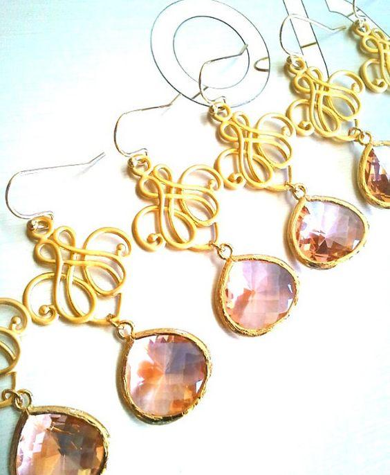 Peach Earrings Champagne Gold Earrings Champagne by AngelsBride