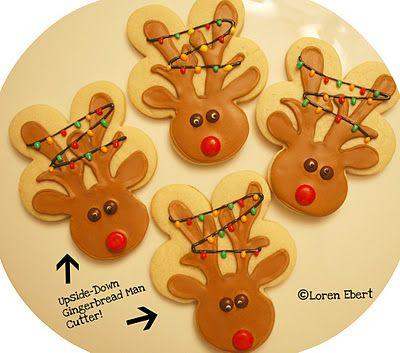 Reinder Cookies (upside down gingerbread cookie cutter)