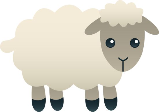 Free clip art of a cute little fluffy white lamb