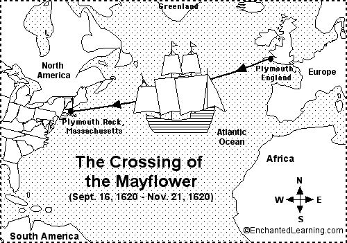 Crossing of the Mayflower.  Site full of information on Thanksgiving.  Tons of links!