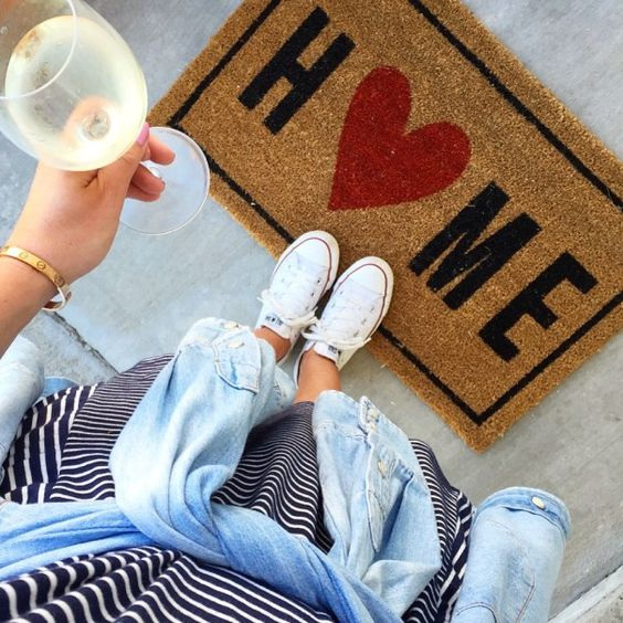 Home is where the heart is, and you can complement your new door with this sweet door mat.