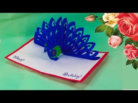 Diy How To Make Peacock Pop Up Card Paper Crafts Handmade Craft Birthday Day Card Youtube In 2020 Paper Crafts Cards Handmade Crafts Flower Vase Crafts