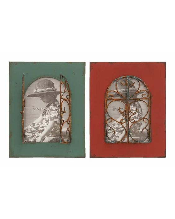 Vintage Green and Red Wooden Photo Frames with Bronze Scroll Gates -  are made with aged wood throughout the main frame. Set inside the wood are rusted bronze alloy gates that swing open, making a lovely balcony window effect. The perfect gift to keep on the coffee table of in the guest bedroom. And keep one in the home office as a constant reminder of life's enjoyments.