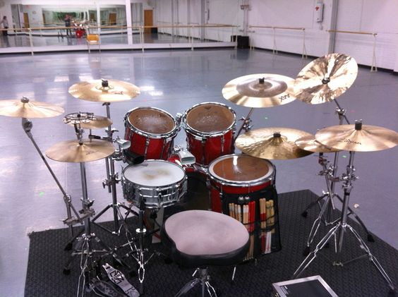 Tim Leverett's drum setup for Jamey's newest work.  We are feeling the beat!