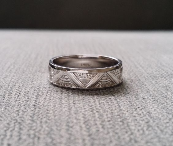 Art Deco Mens Wedding Band Ring Pattern Antique Unique Egyptian Geometric 14K Gold The Emmerson