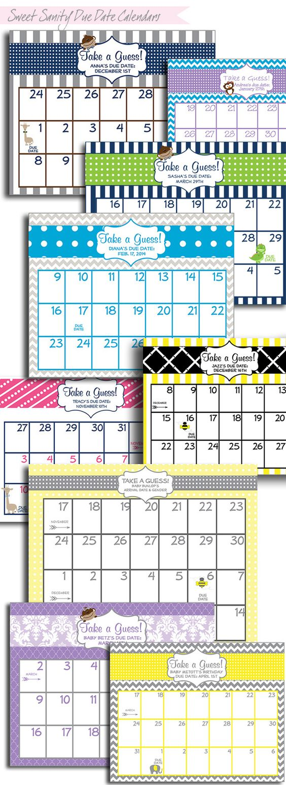 Baby Shower Guess the Due Date Calendar Printable - Pink Baby Shower ...