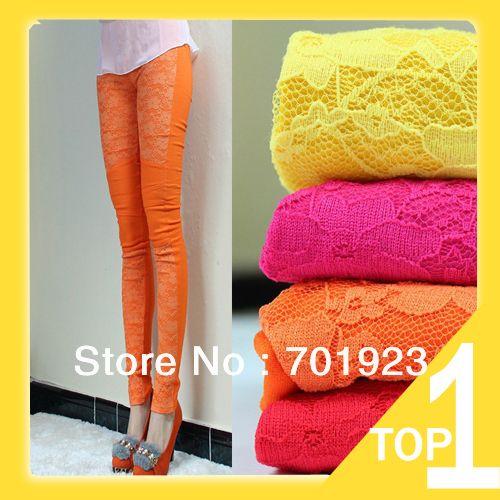 2013 frete grátis/compras queda mulher leggings primavera doces coloridos de renda patch trabalho skinny