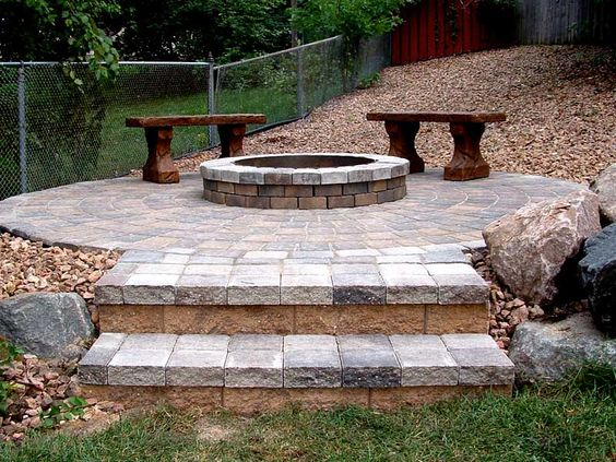 Stone Fire Pit Ideas Rosemount Mn: Elevated Fire Pit With Large Rocks To Blend Into