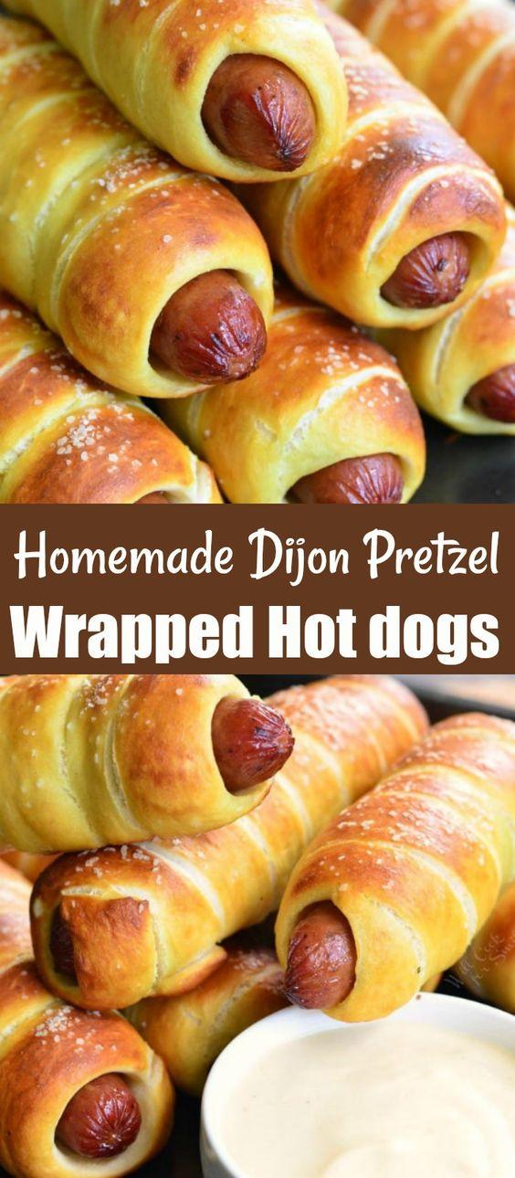 Homemade Dijon Pretzel Wrapped Hot Dogs